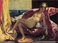 Reclining Odalisque/Woman with Parakeet Delacroix