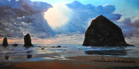 Light on Haystack Rock Cannon Beach