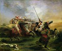Moroccan horsemen in military action by Delacroix