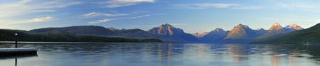 Panoramic of dawn breaking on Lake McDonald