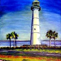 Biloxi Lighthouse Art Prints & Posters by CDarlene Collins