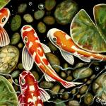 """""""Pebbles And Koi"""" by ElizaArt"""