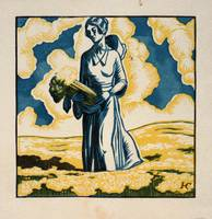 Woman in field with celery