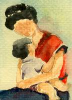 Mother and Baby Watercolor ART (Mama's Love)