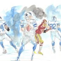 Cowboys vs Redskins #1 Art Prints & Posters by Ed Sherrell