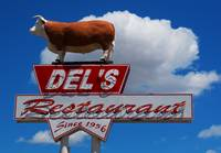 Route 66 Neon Sign: Del's Steaks