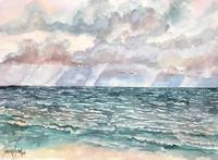 seascape painting crimson skies