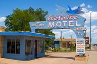 Blue Swallow Motel Neon Sign in Tucumcari On Route