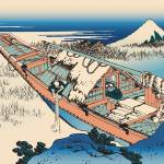 Hokusai Ushibori in Hitachi Province by Leo KL