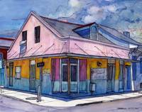 French Quarter House in Pink and Blue