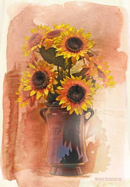 Watercolor Abstract Sunflower Sunflower Watercolor