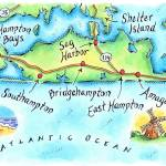 """Hamptons, N.Y. Map"" by jenniferthermes"