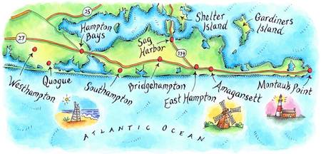 Hamptons, N.Y. Map
