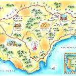 """Ruta de los Pueblos Blancos, Spain Map"" by jenniferthermes"