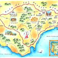 Ruta de los Pueblos Blancos, Spain Map Art Prints & Posters by Jennifer Thermes
