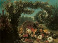 Delacroix Basket Of Flowers In A Park