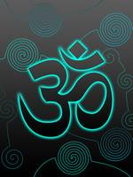 OM Sign with turquoise glow