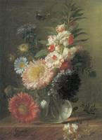 Van Spaendonck Chinese Aster and Balsam in a glass
