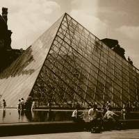 Louvre Pyramid in Sepia Art Prints & Posters by Patricia Flinsch-Rodriguez