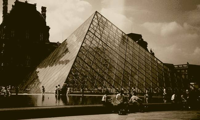 Louvre Pyramid in Sepia