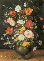 Brueghel the Younger Flowers in a Metal Vase
