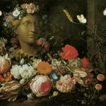 Veerendael Flowers round a Classical Bust by Leo KL