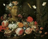 Veerendael Flowers round a Classical Bust