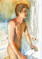 Observing Oneself, Male Nude Art Watercolor