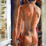 """Bookcase, Male Nude Art"" by schulmanart"