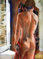 Bookcase, Male Nude Art