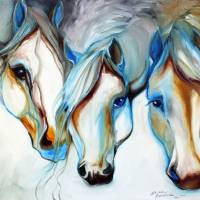 """3 WILD HORSES in ABSTRACT"" by MBaldwinFineArt2006"