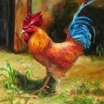 """Bluetailed Rooster"" by ArtByDianeKraudelt"