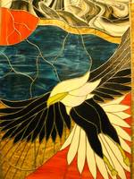 Stained glass eagle.