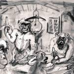 """The Banana Eaters Charcoal Sketch for Oil Painting"" by GinetteCallaway"