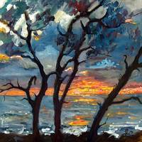 Jekyll Island Sunrise Oil Painting by Ginette