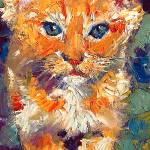 """Kitten My Baby Josi Oil Painting by Ginette Callaw"" by GinetteCallaway"
