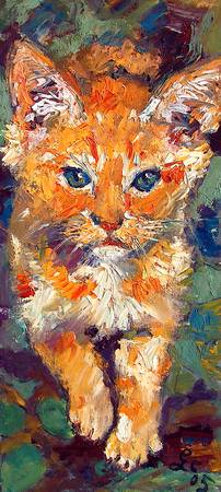 Kitten Cat Walking Oil Painting by Ginette Callaw