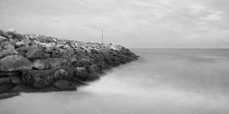 Highcliffe Beach in Dorset in Black and White