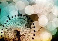 Pastel bokeh blue ferris wheel fine art photo