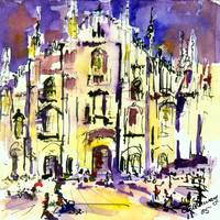 Milano Cathedral Italy Watercolor by Ginette