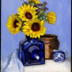 """Sunflowers in Blue Vase"" by BarbaraAllen"