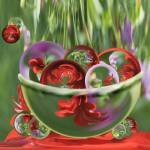 """Red Flower Garden - Bowl of Circles"" by tricia"