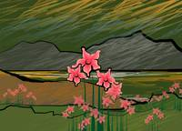 Landscape with flowers on the hillside