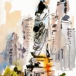 Statue Of Liberty New York Watercolor by Ginette