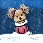 """Winter Whimsy Yorkie Terrier"" by KiniArt"