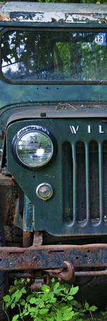 Green Jeep Left 12x36 print