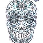 """aqua sugar skull"" by staceycreek"