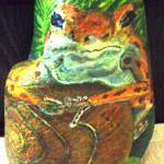 """Poison Dart Frog lounging on snail"" by Lawnjockey"