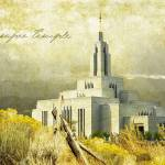 """Draper Temple over valley"" by brycegandy"