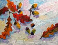 Acorns In The Snow Oil Painting by Ginette